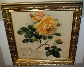 Paul de Longpre Original 1901 Yellow Roses Flowers Antique Gold Wood Frame Picture Home Decor Wall Hanging Calendar Chromolithograph Print