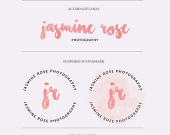 Brush Font Watercolor Logo, Minimal Watercolor Branding Kit, Pink Watercolor Stamp Logo, Peach Feminine Logo, Pink Watercolor Branding Kit