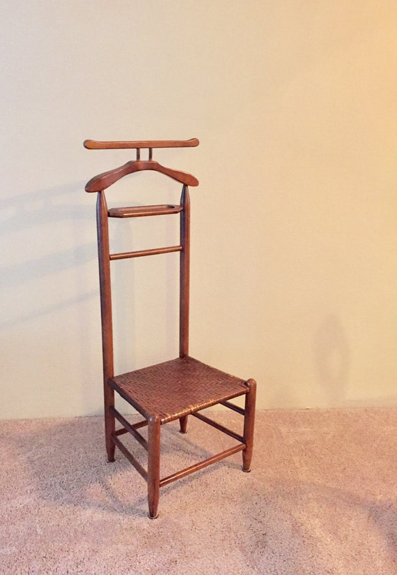 vintage valet chair solid wiid with woven by
