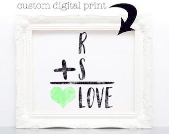 1er cadeau d'anniversaire pour couple, impression sur papier, papier numérique, téléchargement immédiat, cadeau de douche de mariage, cadeau Saint-Valentin, art mural numérique, personnalisé