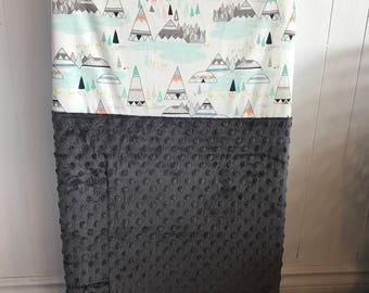 crib sheet for changing mat, tee pee and grey minky
