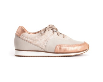 New //  Bronze and Stone Sneakers, Leather Sneakers, Hand Made Sneakers, Designers Sneakers // Free Shipping