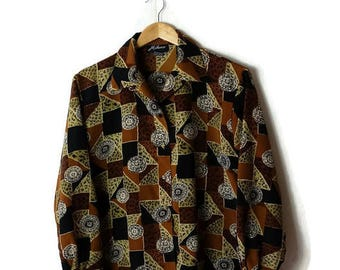 Vintage  Leopard x Geometric printed Long  sleeve Blouse from 1980's*