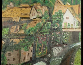 Original Vintage Oil Painting Landscape Impressionist Green Village in the Trees on Canvas Primitive Folk Art