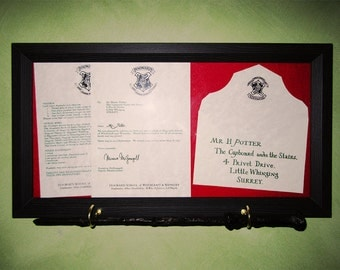 SAVE 14%!  Harry Potter Acceptance Letter & Wand Frame