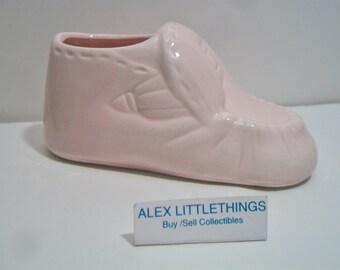 Vintage Pink Baby Bootie Shoe Figurine Cake Topper Baby Shower Nursery Planter Taiwan ROC