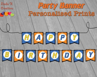 """Dart Tag """"Nerf Wars"""" Inspired Party Birthday Banner 