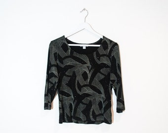 on sale - black & cream sparkly fitted top / abstract stretchy 3/4 sleeve top  / size M / L