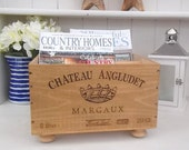 Wooden wine crate Magazine rack - Chateau Angludet- French storage - wedding present- wine lover gift- housewarming - chateau - wine o'clock