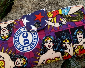 Comic Book Checkbook Cover,  Super Hero Coupon Wallet
