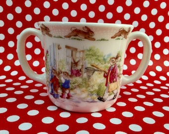 "Royal Doulton Child Children's Cup Bunnykins ""Fishing Trio"" Bone China Mug, Collectible, Bunny Cup, Vintage Easter"