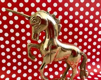 Brass Unicorn Figure Statue Mystical Magical Figurine