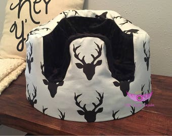 Black and Cream Buck and Black Minky Bumbo Seat Cover