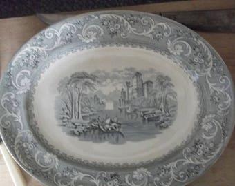 Brownfield Victorian Transferware Platter , Grey & White Transferware Platter , Ironstone Platter , Brownfield Ironstone