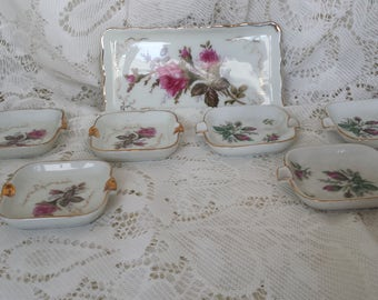 Royal Sealy Moss Rose Ashtray Set - Japan