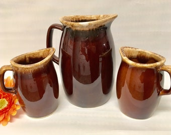 Vintage Hull Art Pottery Pitchers (3), 1950s Collectible American Potteries/USA Made/Decorative/Primitive
