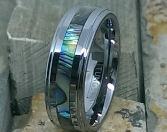 8mm Mens Womens Tungsten Ring with Abalone Stripe Inlaid Comfort Fit Personalized Wedding Band Ring - Promise Ring Band AZ7