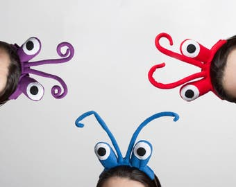 Crab Eyes Headband, Children's or Adult's Photo Prop, Pretend Play, Purple, Blue or Red
