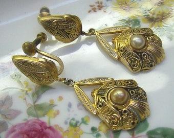 Vintage SPAIN Damascene Pearl Earrings...Gold Damascene Dangle Screw Back Earrings...Signed