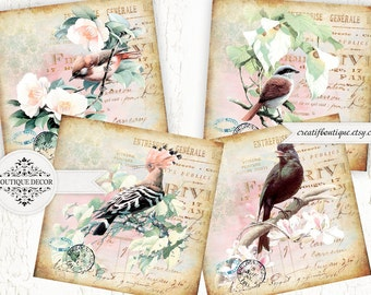 Vintage coasters. Set of 4 pics 4x4 inch. Digital collage sheet for scrapbooking or packaging.