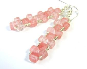 Cherry Quartz Earrings Pink Dangle Earrings, Cube Earrings Sterling Silver Ear Wires, Beaded Earrings Handmade Geometric Jewelry Pink Gifts