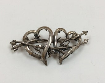 Vintage Danecraft 925 Sterling Silver Heart/Brooch/Pin!!  Free US Shipping!!!