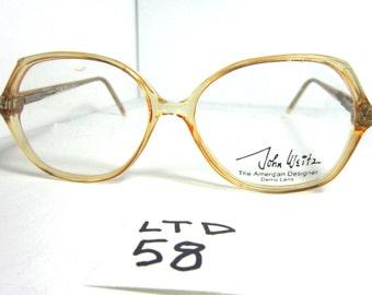 Vintage 80s JOHN WEITZ by Swan usa 053 Eyeglass Frame LeveFlex-40 Brown (LTD-58)