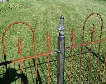 """1.5""""""""sq Wrought Iron Finial Topped Fence Post for Fencing and Gates Support"""