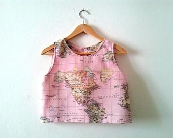 World Map Crop Top In Pink, Map Printed Top, Atlas Summer Top, Pink Crop Top, Made to Order