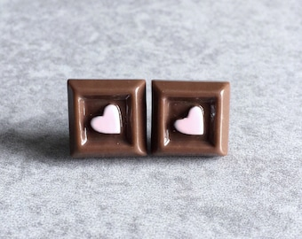 Chocolate Square Earrings - Silver Plated Stud Posts, 13mm Resin Cabochons, Pink Hearts, Sweet Treats, Candy, Hershey's, Dessert, Kawaii