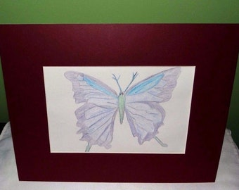 Purple butterfly pencil art sketch, with maroon matte board 8 x 10 inches, with matte board 11 x 14 inches