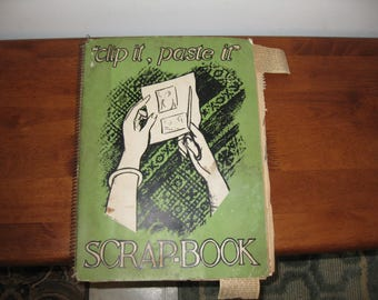 1940'S SCRAP BOOK Clip It Paste It Features Couples Wedded 50 Years Newspaper Clippings