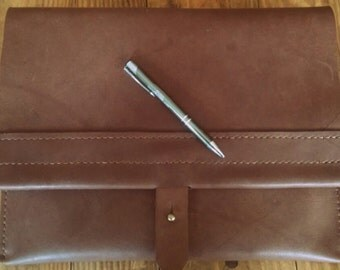 "Leather, Three Pocket, Portfolio Case/Envelope Clutch/Measures 14"" X 10.5/ Made with full grain, oil tan leather. Hand stitched, Made in USA"