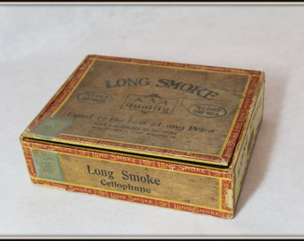 Vintage Long Smoke AAA Quality 5Cent Cigar Box