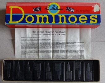 Halsam Vintage Dominoes Game in Box  Comes with Instructions No 623 H Black Double Sixes 6s