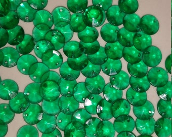 Vintage Green Rivoli Faceted Drop Pendants Beads