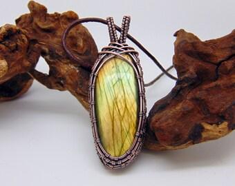 Yellow Labradorite Pendant - Wire Wrapped Pendant - Wire Wrapped Jewellery Handmade - Gemstone Jewellery