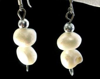 Freshwater pearl earrings.