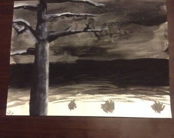 Black and White Landscape on Watercolor Paper