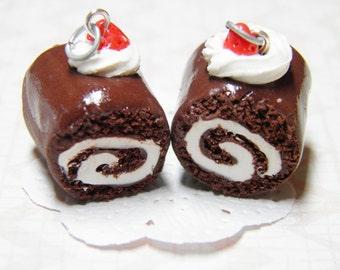 Chocolate Cake Roll Necklace - handmade, polymer clay food, polymer clay necklace, swiss roll, miniature food, food jewellery
