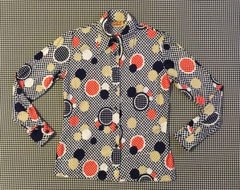 1970's, silky, nylon, button up, collar shirt, in white, with navy, red, and beige polka-dots, Women's size Small/Medium