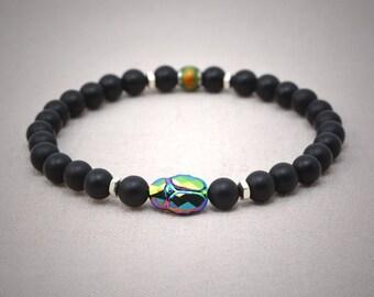 Matte onyx stretch bracelet - Swarovski crystal beetle