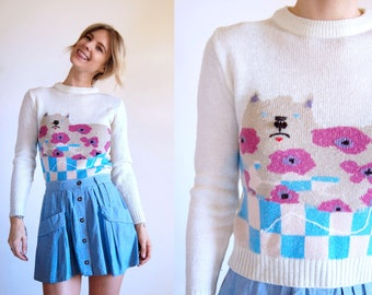 Vintage Sweater Cat Crew Neck Pullover