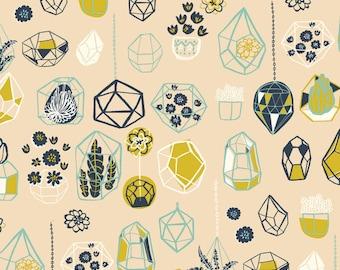 Hidden Garden Hanging Terrarium Shell Poplin by Miriam Bos for Birch Fabrics, Quilting Cotton, Organic Poplin - Half Yard or By the Yard