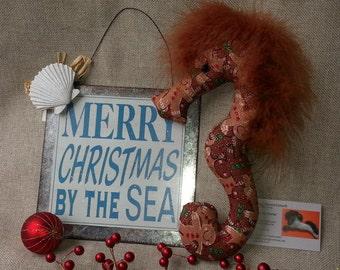 gingerbread boy, seahorse, Christmas fabric, gingerbread ornament, ornament, decoration, nautical ornament, nautical decor, beach Christmas