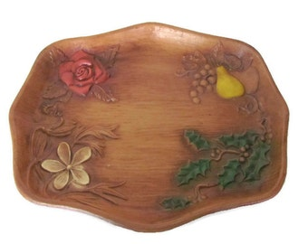 Vintage Plastic Wood Look Tray, 1960's Flower, Fruit Decorative Tray, Mid Century Decor