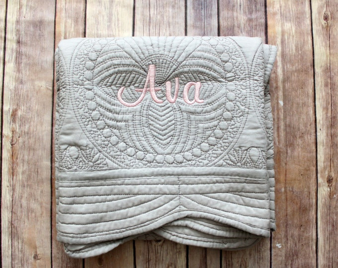 Monogrammed Baby Quilt, Personalized Grey Blanket, Personalized Baby Quilt, Monogrammed Blanket, New Baby Baby Girl Quilt, Grey Baby Blanket