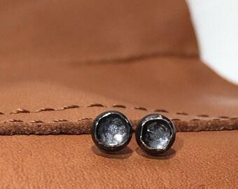 Tiny White Rose Cut TOPAZ Oxidized Sterling Silver Stud Earrings - 4 mm white rose cut topaz - Wild Grace Jewelry