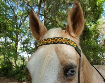 Green Eye of the Medicine Man American Indian Style Browband for Horse or Pony - Seed Bead Native American Equine Tack Jewelry