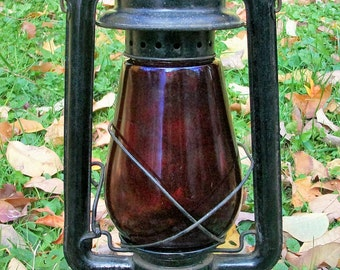 Vintage Embury Supreme No. 2.C.B. Large Lantern Red Globe Warsaw NY